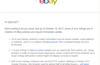 remove policy security violations ebay