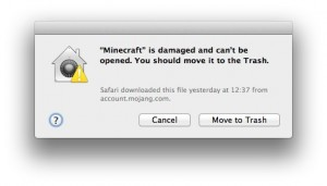 Minecraft damaged warning window