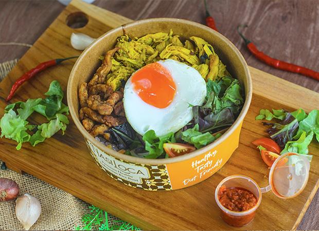 Nasi loca shirataki nasi kremes ayam suwir kemangi dok. duniamasak.com