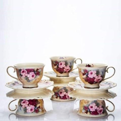 Cangkir Burgundy Rose CAPODIMONTE 6pcs via duniamasak.com