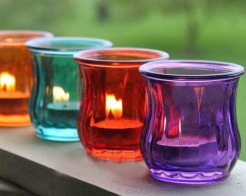 Lilin hias unik gelas warna warni via aliexpress.com ala tim duniamasak.com