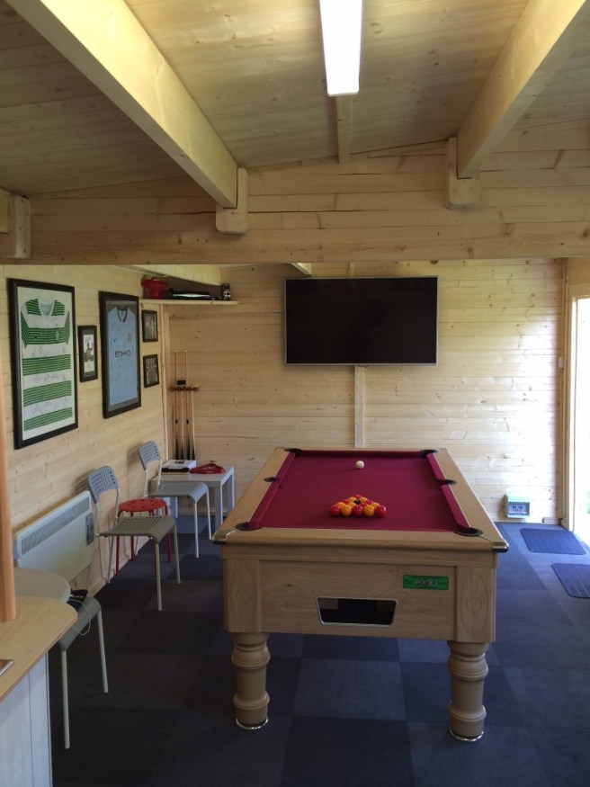 Man Cave Log Cabin from Dunster House with pool table