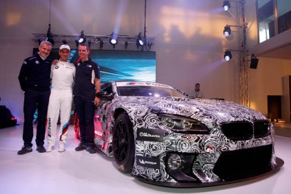 Nürburgring (DE), 14th May 2015. 24h race, BMW M6 GT3 Presentation, Jens Marquardt (DE) BMW Motorsport Director, Jörg Müller (DE), Frank van Meel (NL) Chairman of the Board of Management of BMW M GmbH. This image is copyright free for editorial use © BMW AG (05/2015).