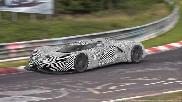 Spied on the track, the SRT Tomahawk Vision Gran Turismo, a single-seat hybrid powertrain concept vehicle, gets ready for its debut in Gran Turismo®6.