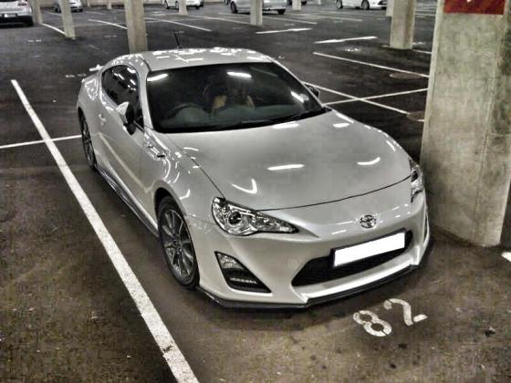 Ryan Brooke's White Toyota 86 - shot in the parking of Moses Mabhida Stadium