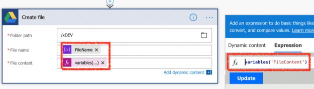 Google Create File action