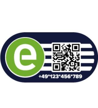 Das intercharge-Symbol kennzeichnet anbieterübergreifend nutzbare Ladeinfrastruktur und ermöglicht zusätzlich durch den integrierten QR-Code die Nutzung einer freiverfügbaren Smartphone-App zur Freischaltung von Ladevorgängen.