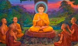 Buddha Preaches his First Sermon