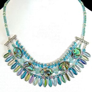 Gaia 16 inch Iridescent Shell Necklace