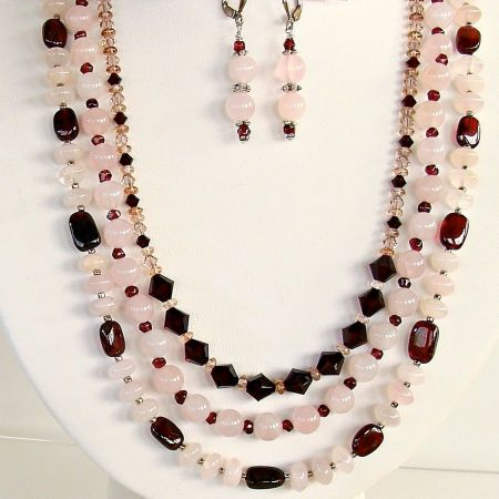 Rose Quartz and Garnet Necklace Set