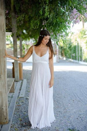 white crinkled maxi