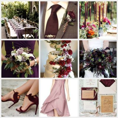 Marsala wedding collage