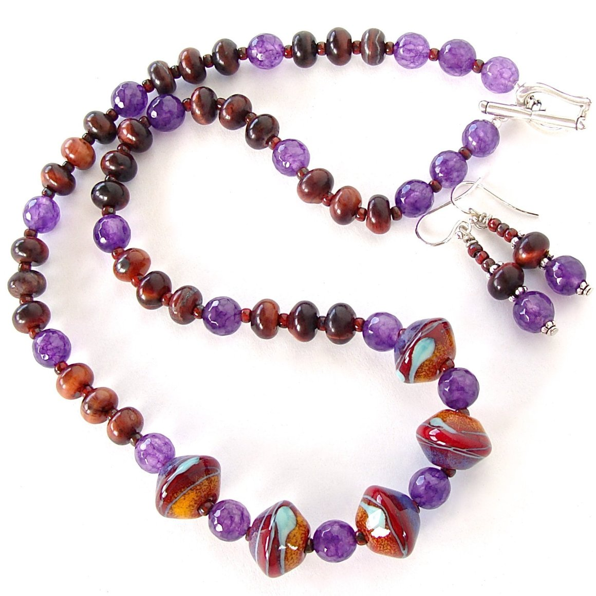 Naomi: Earthy Jewelry with Art Glass and Purple Gemstones