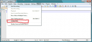 Notepad++ Macro Shortcut Saved