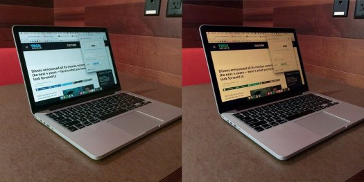 Image showing what a MacBook Air display looks like with and without f.lux enabled.