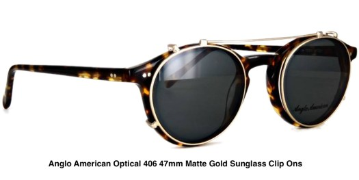 Anglo American Optical 406 47mm Matte Gold Sunglass Clip Ons