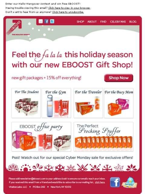 EBOOST Holiday Mailing healthy energy drink mix