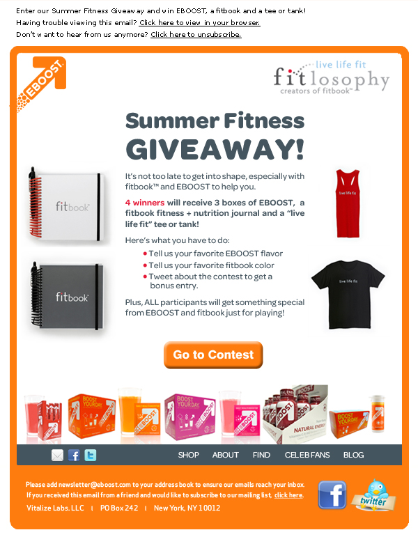 EBOOST fitbook contest healthy energy drink mix