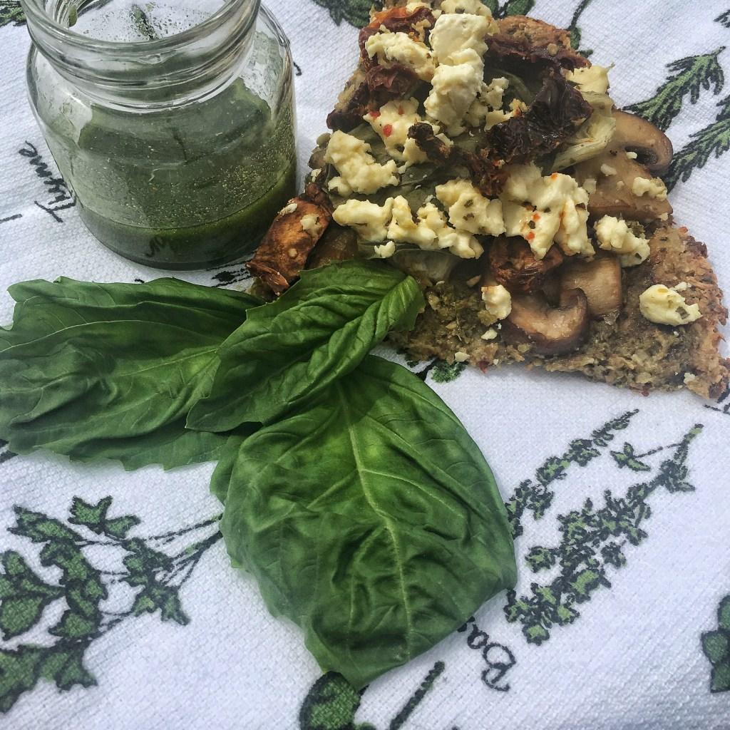 IMG 1756 1024x1024 - Roasted Garlic Basil Feta Cauliflower Pizza with a Spruce Drizzle