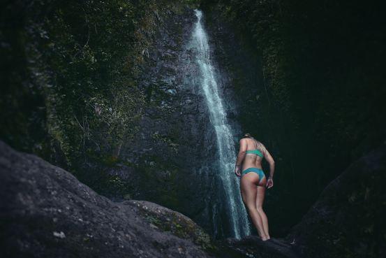 girl in green bikini, water fall