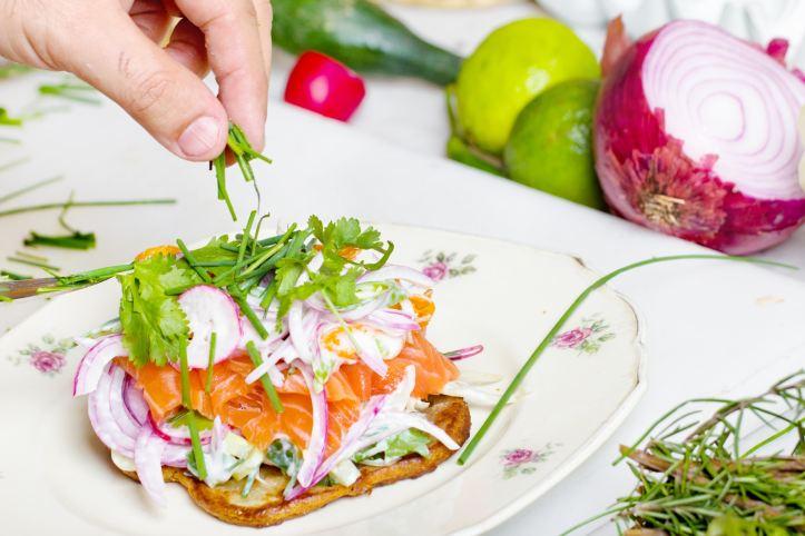 salmon open faced sandwich