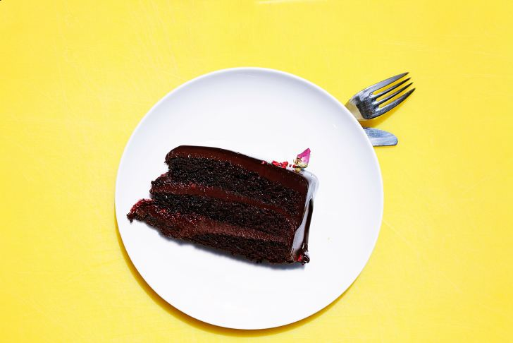 chocolate cake on a yellow background