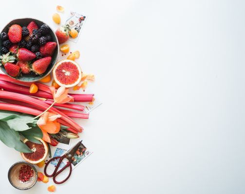 fruit spread on a white table