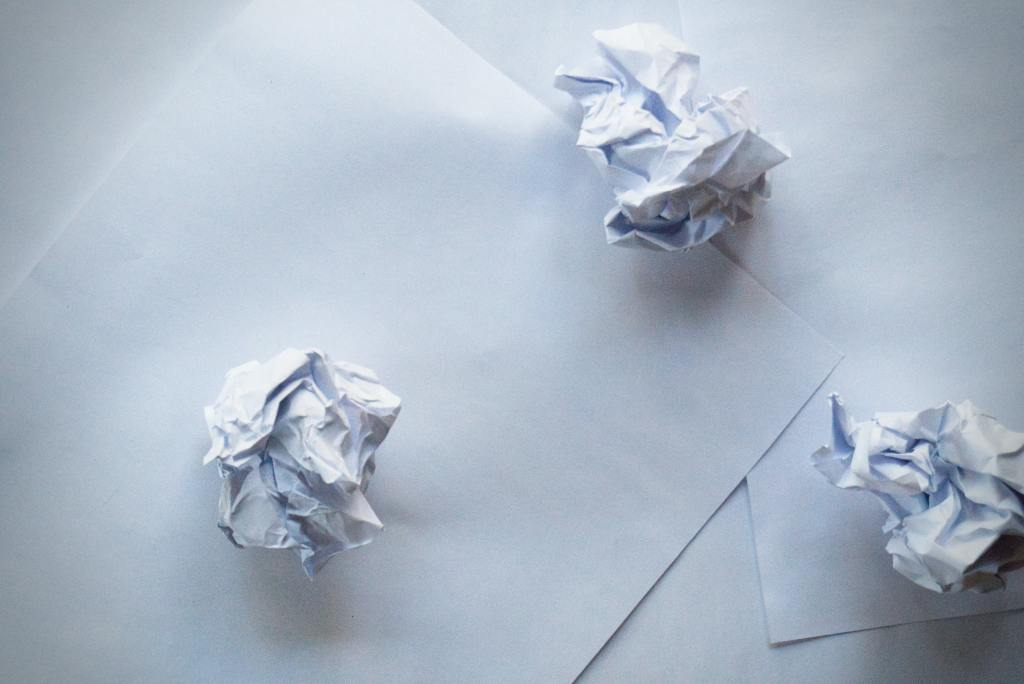 crumpled pieces of paper