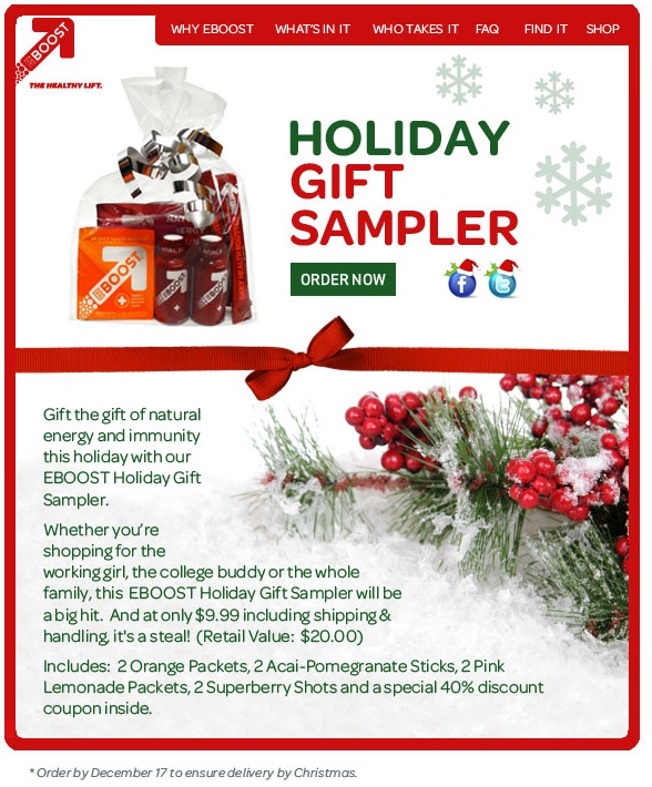EBOOST Holiday Gift Sampler healthy energy drink shot