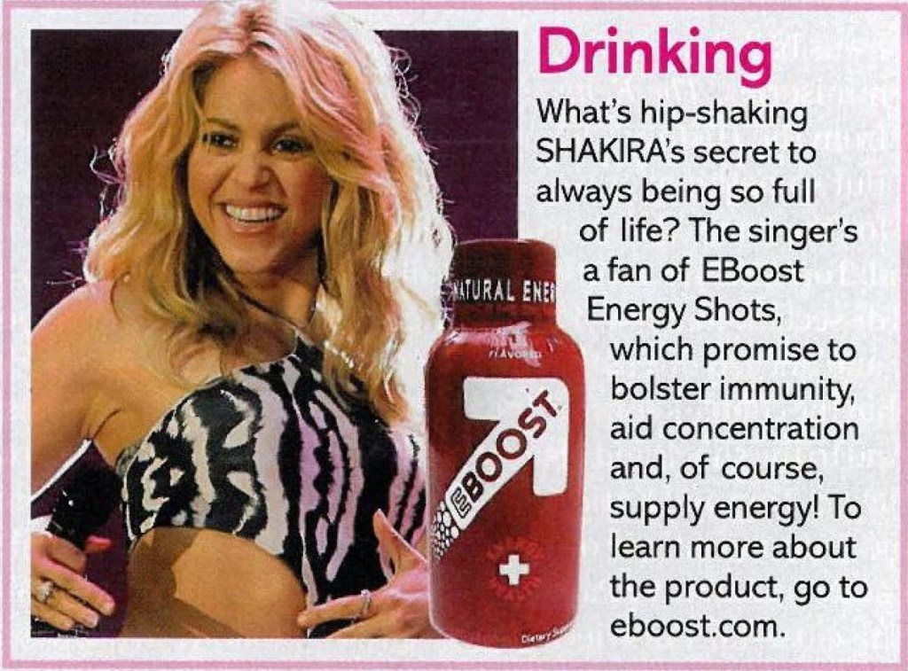 """Shakira """"Life & Style"""" """"life&style"""" EBOOST healthy energy drink mix """"super berry shot"""""""