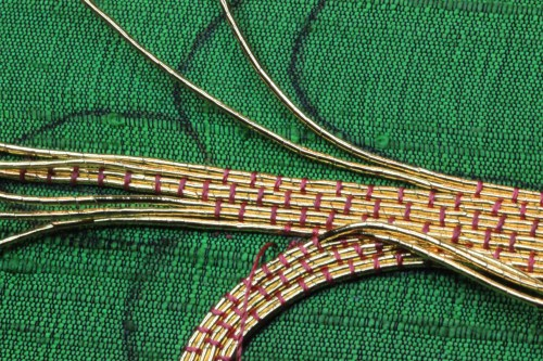 Goldwork couching added to opposite side of cross on IHS Ecclesiastical Embroidery