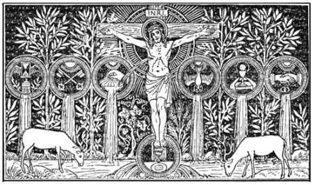 Christ Figure from Catholic Missal Line Art