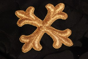 Finished Example of Metallic Gold Cross Stitched in Place with Couching Stitches