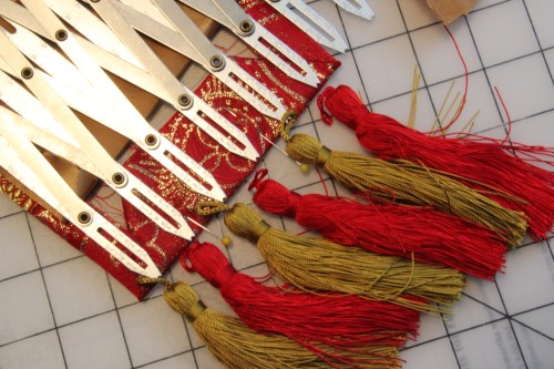 Measuring for tassels on a Priest or Pastoral stole