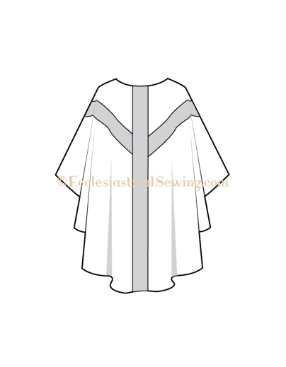 Gothic Chasuble Pattern with Y orphrey bands church vestment pattern