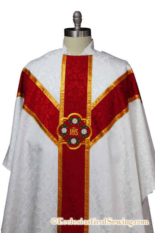 Gothic chausble with Y orphrey bands church vestment priest clothing Christmas vestments catholic priest vestments