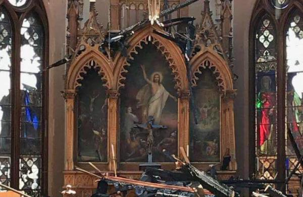 mural church fire archway deconstruction tragedy Trinity Church Christian building stained glass USA
