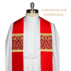 Red Liturgical brocade fabric red clergy stoles pastor stoles clergy stoles deacon stoles church vestments latin mass vestments Pentecost priest stoles silk dupioni stoles Liturgical brocade fabric installing a new pastor or priest installation of clergy christian catholic lutheran pentecost gift closeup detail shot
