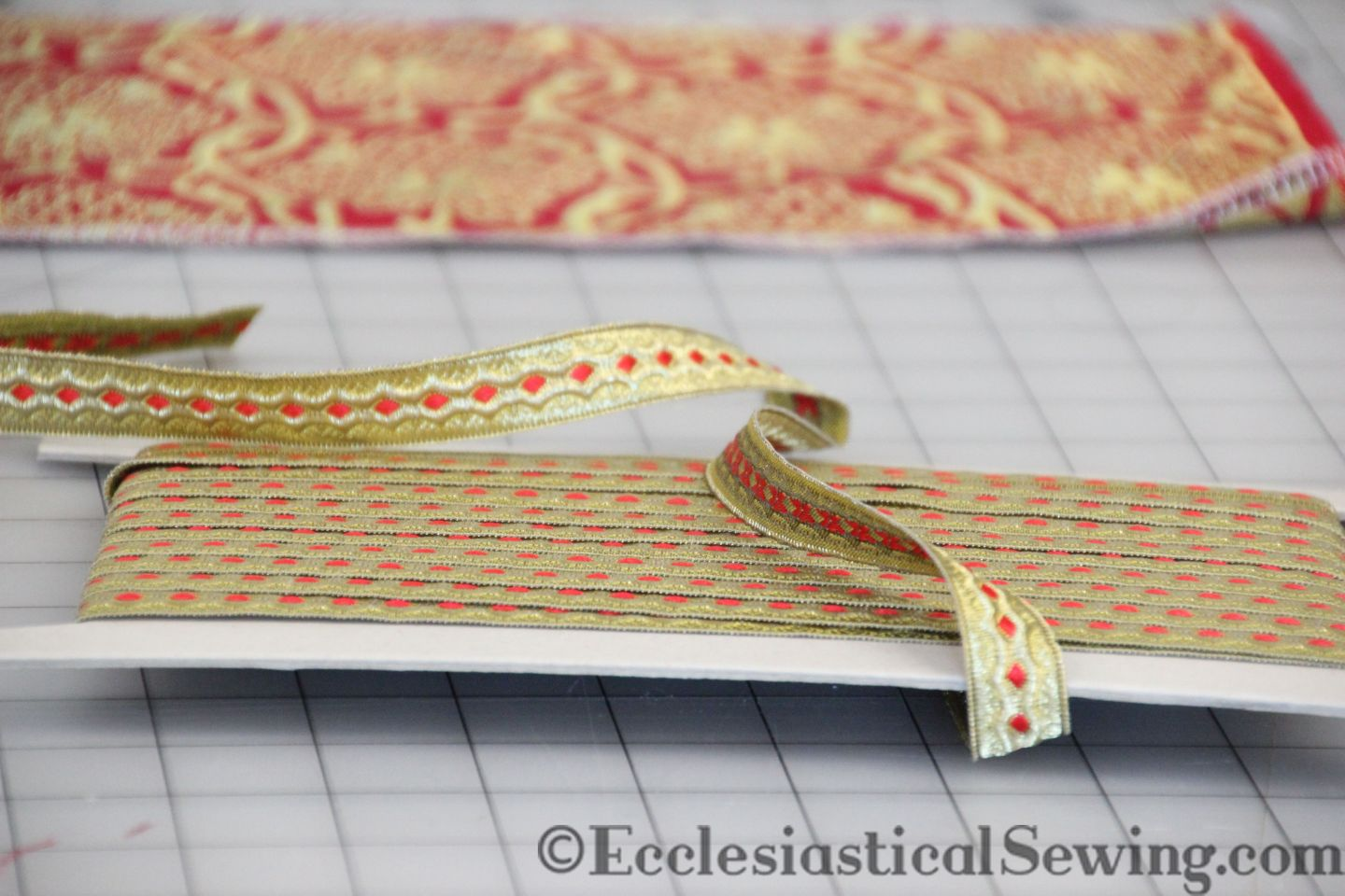 Narrow Trim orphrey bands church vestments liturgical brocade Religious fabric Chasuble orphrey bands Ecclesiastical Sewing