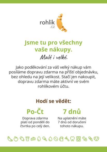 E-mail s poděkováním za nákup na e-shopu Rohlik.cz, nabídka dopravy zdarma.