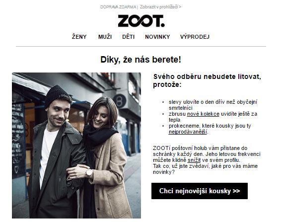 Welcome e-mail od e-shop Zoot.cz s poděkováním k odběru newsletteru.