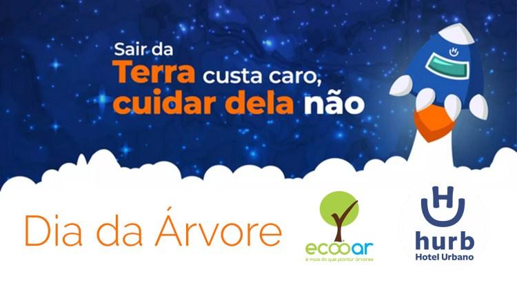 Arte mostra foguete, com céu estrelado e as logos da Ecooar e Hurb