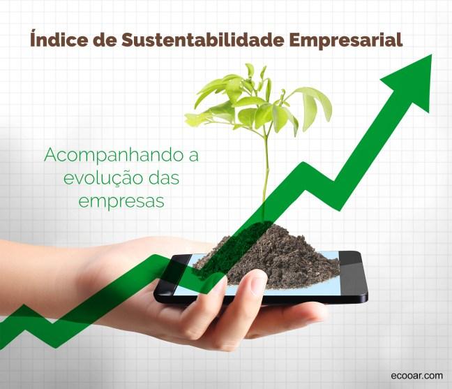 Imagem mostra arte com uma muda de árvore em cima de um celular com a frase Índice de sustentabilidade empresarial representando o Mercado Financeiro