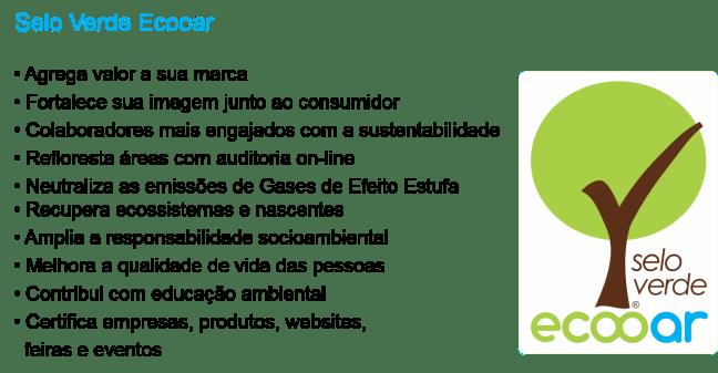 Imagem mostra selo verde Ecooar e suas vantagens