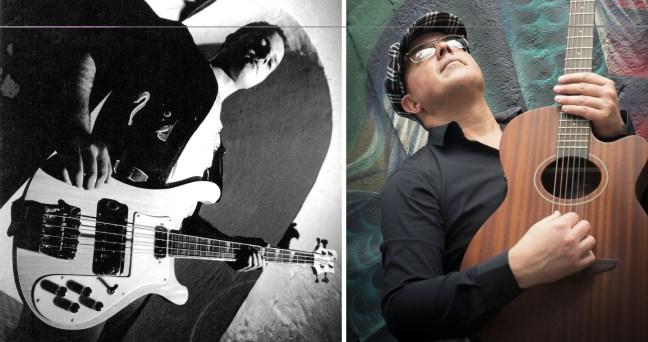 Foto dupla mostra o músico Paulo Otávio em 1990, época de rock and roll e hoje em dia