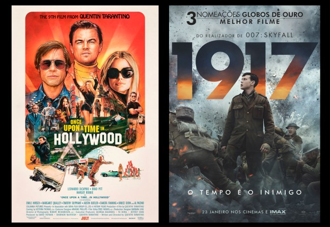 Foto mostra cartazes dos filmes Once upon a time in Hollywood e 1917 que concorrem ao Oscar 2020