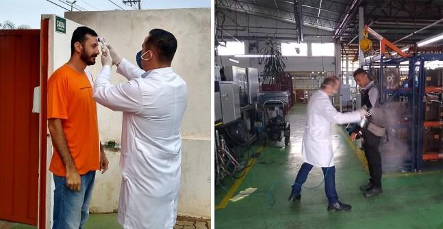 Foto contém médico medindo a temperatura e higienizando com spray colaborador da empresa que cria respirador artificial