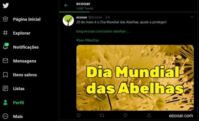 Imagem mostra print da rede social Twitter da Ecooar, onde está escrito dia mundial das abelhas