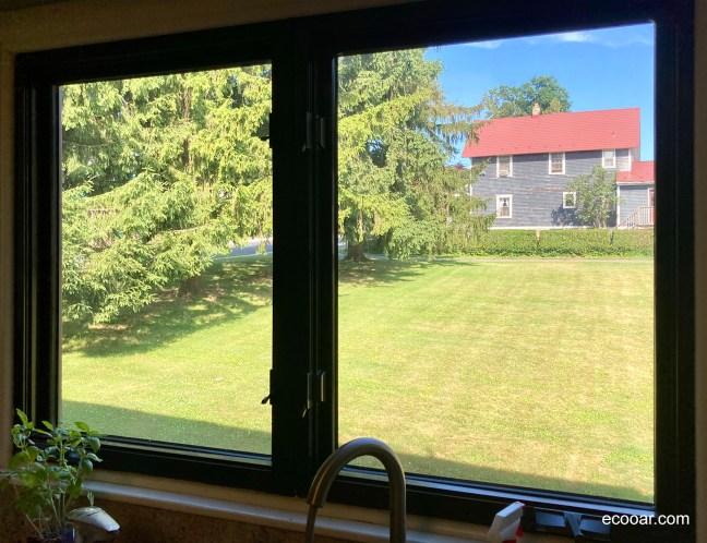 Foto mostra janela, com um gramado e árvores do lado de fora da casa