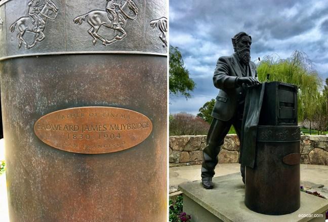 Foto mostra estátua de Eadweard James Muybridge, tirada no    Letterman Digital Arts Center, em San Francisco